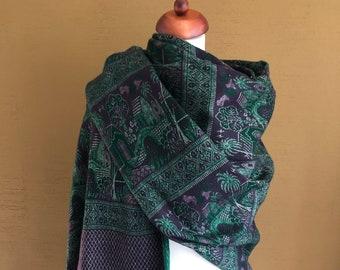 Purple & Green Yak Wool Shawl