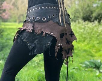 Leather Skirt ~* Amazonia *~ Black & Brown Ajustable Skirt