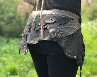 Leather Belt ~* Allegra *~ Green & Black adjustable size