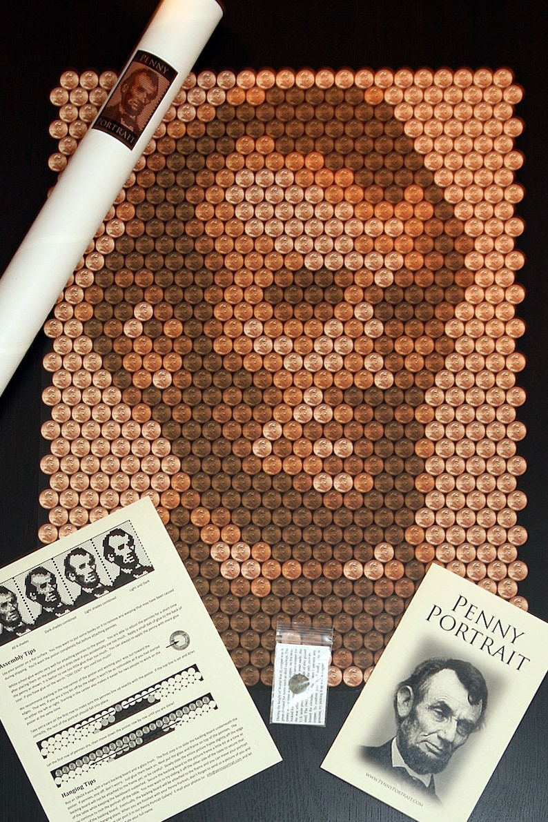 Abraham Lincoln Penny Portrait Kit  Unique DIY Craft Wall Art image 0