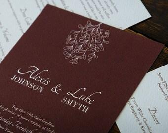 Burgundy Mistletoe Personalised Wedding Invitations