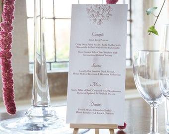 Burgundy Mistletoe Wedding Menu