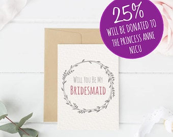 Floral 'Will You Be My Bridesmaid?' Card