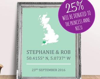 UK Personalised Engagement Wedding Print - London Newquay Wales Scotland England 8x10 inches