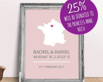 France Personalised Engagement Wedding Print - Paris 8x10 inches
