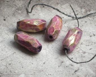 Handmade polymer clay beads, 4 rustic handfaceted beads, jewelry supplies, Artisan, SRA