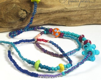 Colorful lampwork glass beads and seed beads necklace. Long fun multicolor beaded necklace, Boho Chic, Summery, OOAK, Artisan, SRA