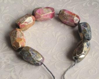 Handmade polymer clay beads, 7 rustic handfaceted beads, jewelry supplies, Artisan, SRA