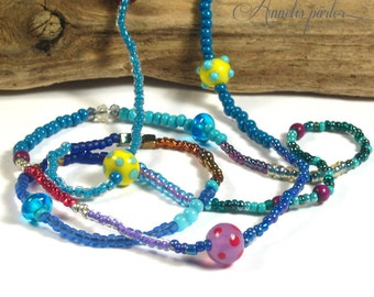 Summery lampwork glass bead and seed bead necklace. Long multicolor beaded necklace, Boho Chic,  Artisan, SRA