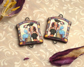 Handmade polymer clay transfer charms, earring component pair, Masquerade vintage image transfer, jewelry supplies, Artisan, SRA