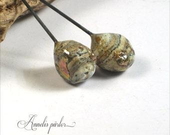 Handmade lampwork glass beads headpins, rustic glass headpins, earring pairs, charms, jewelry supplies, rustic, boho, organic, SRA, Artisan
