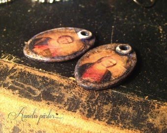 Handmade rustic polymer bead charms, earring pair, rustic jewelry supplies, medieval, religious charms, holy charms, shabby, Artisan, SRA
