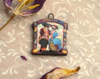Handmade polymer clay transfer pendant, Masquerade vintage image transfer, jewelry supplies, Artisan, SRA