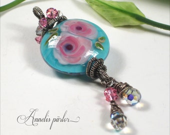 Handmade lampwork bead, sterling silver and crystal large glass necklace pendant with roses, OOAK, SRA, Artisan