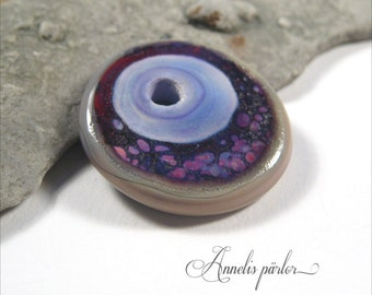 Handmade lampwork glass bead. Red, purple rose and streaky grey/brown focal bead, Artisan, SRA