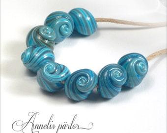 SRA handmade lampwork beads, glass shells, Artisan lampwork beads, Swedish glass crafts