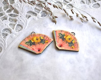 Handmade polymer clay transfer charms, Victorian fan earring pair, jewelry components, jewelry supplies, Artisan,