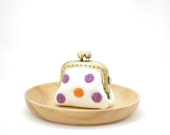 Tiny Kisslock Purse - Lavender/Orange Dots