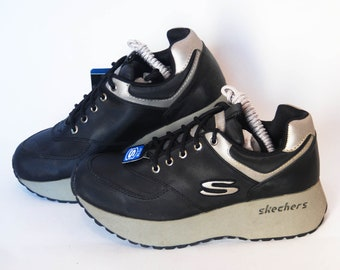 67174704123 skechers shoes platform sneakers womens vintage platforms chunky sneakers  size eu 38 us 7 uk 5 black goth rock 90s casual comfort athletic
