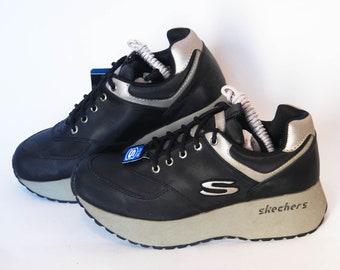 0daeabc3c05b skechers shoes platform sneakers womens vintage platforms chunky sneakers  size eu 38 us 7 uk 5 black goth rock 90s casual comfort athletic