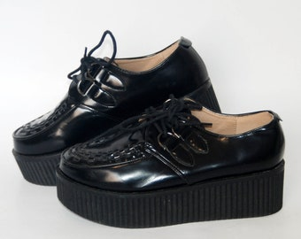 "3/"" Black Patent Baby Doll 80s 90s Punk Goth Skater Platform Creepers Demonia"