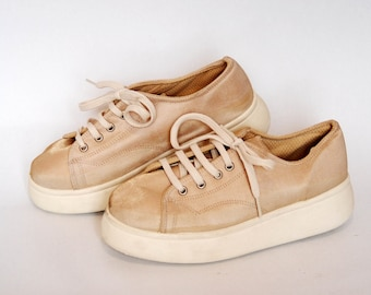 2f0630fd6c78 platform shoes cosplay sneakers canvas beige 90s platforms goth rock  vintage size US 8 EU 39 UK 6 high tops womens shoes beige platforms