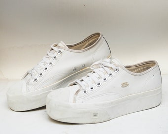 09ae00f001 skechers 90s sneakers vintage canvas shoes high top flat sneakers size 39  eu 9 us 6 uk tie sneakers summer platforms faux leather white shoe
