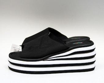 50d35c2b2aa platform slippers Japanese sandals black foam slippers comfort sandals  platform slides 90s platform black flip flops platform flip flops