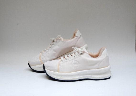 90s white platform sneakers