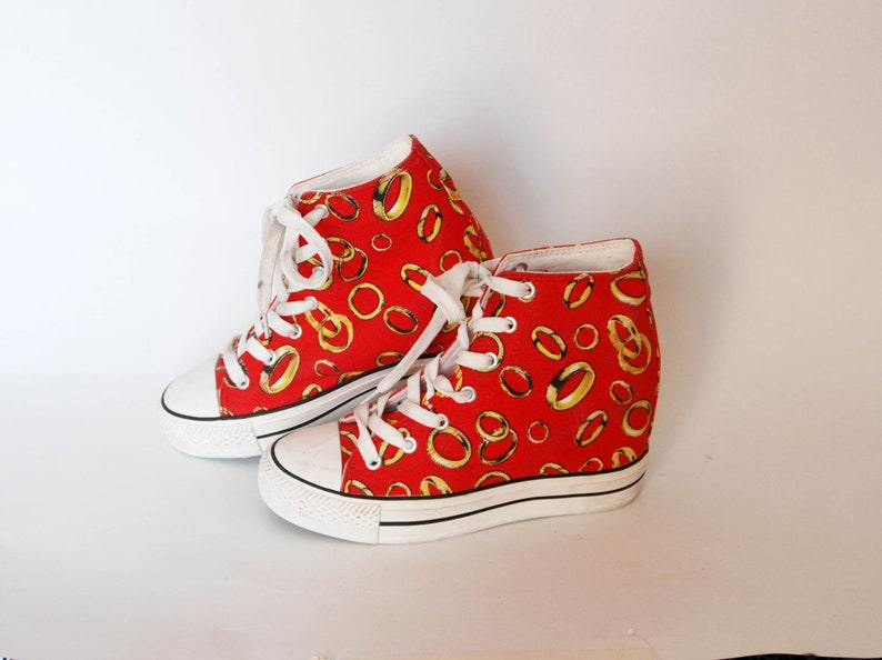 036d793d852c0 canvas sneakers vintage coachella all star hi tops womens shoes goth rock  size eu 37 uk4 us 6 lord the rings graphic print red summer shoes