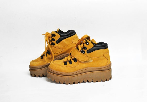chunky boots platform camel brown ankle size eu 38