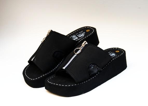 fb24d755cf40 Platform slippers Japanese sandals black foam slippers comfort