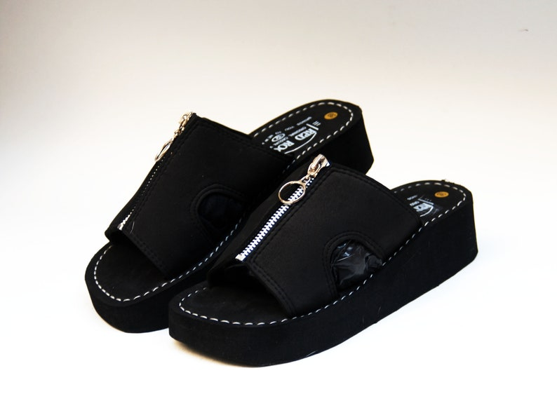 b335e4e8f47 Platform slippers Japanese sandals black foam slippers comfort