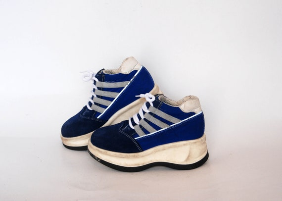 chunky vintage combat sneakers size 31 uk 13 us 12 gift for girls boys vintage blue kids sneakers platform shoes military goth rock sneakers
