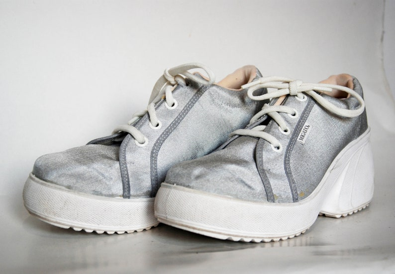platform shoes sneakers silver boots canvas silver shoes 80s platform shoes vintage platform shoes vintage canvas shoes deadstock vintage