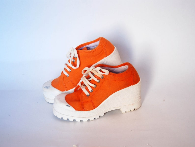 e64bb2161715a burnt orange platform shoes sneakers womens vintage chunky sneakers canvas  shoes goth rock with heel womens size eu 37 uk 4 US 6 summer