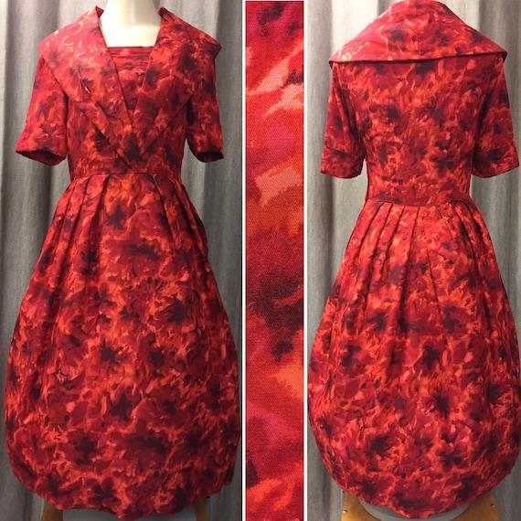 Beautiful unique 1950s red and orange dress