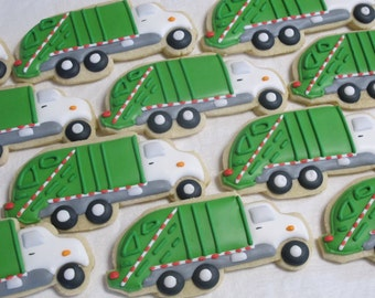 Garbage Truck Cookies - Trash Work Vehicle Theme Birthday Party Favors for Boys, Construction, Custom Cookies for Children, Personalized