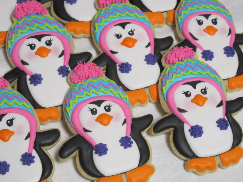 Winter Penguin Cookies Winter Holiday Theme Christmas Decorated Sugar Cookies Birthday Party Holiday Favors Xmas Snow Cookies