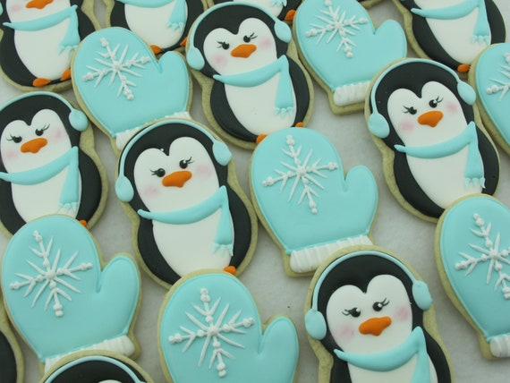 Penguins And Mittens Winter Sugar Cookies Christmas Cookies Holiday Party Dessert Cookies For Children Custom Cookies