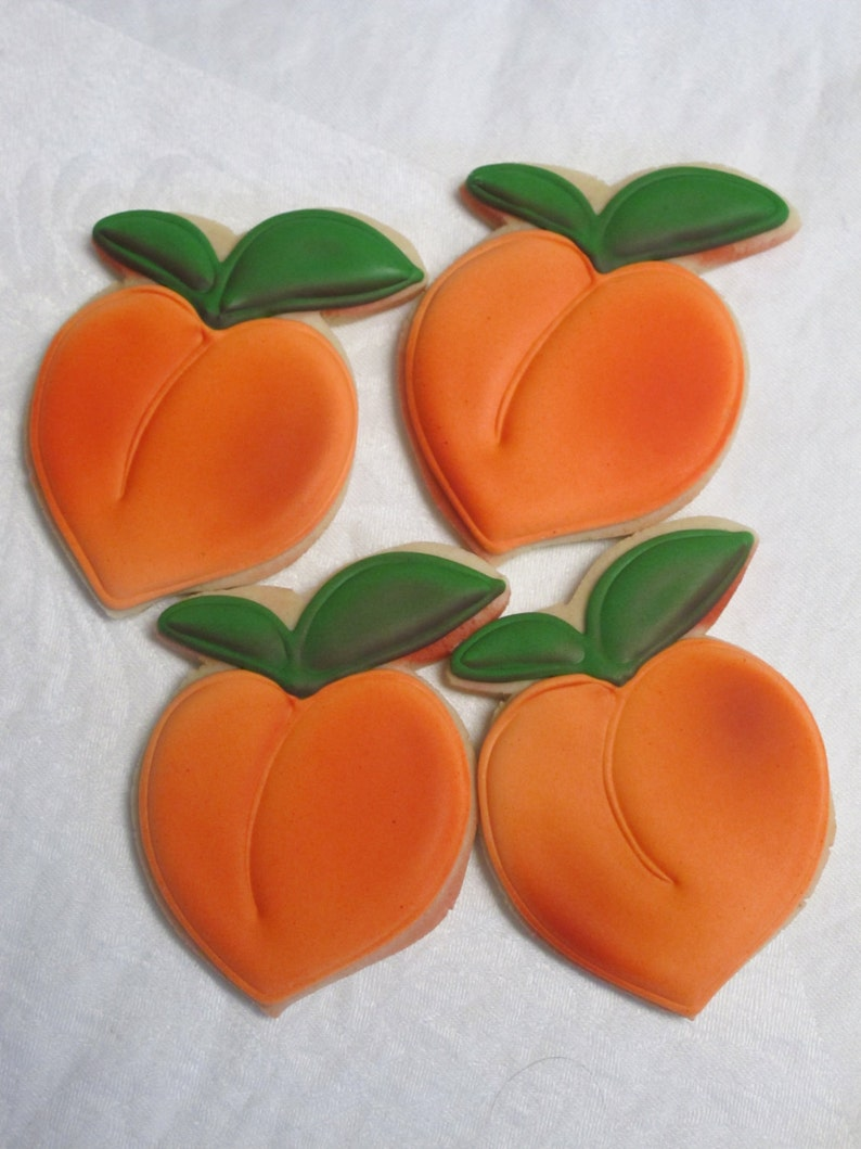 Peach Cookies - Georgia Peaches Wedding Cookie Favors, Bridal Shower  Cookies Birthday Party, Fruit Cookies, Custom Decorated Sugar Cookies