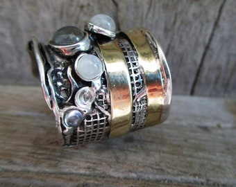 Silver rings,Statement sterling ring,Gemstone large silver ring,Silver /& Gold Ring,Big Rectangle Onyx,Long bohemian ring,Design by PORANS