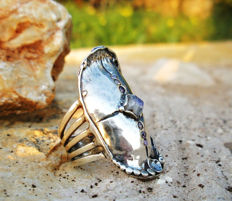 Silver statement rings,Large silver rings,Gemstone Rings,Sterling Silver Moonstone /& CZ Rings,Bohemian rings for Her,Oxidized silver Rings
