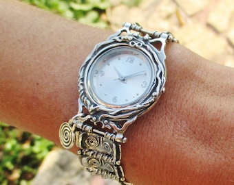 HOLIDAY SALE Sterling silver statement wrist watch, Oxidized hammered spiral links silver bracelet, Women's accessories gift.