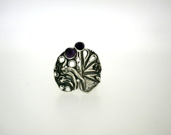 Handcrafted 925 Sterling Silver Ring, Semi precious Amethyst Stone, Special price , Under 50 dollars Sale , Christmas gift