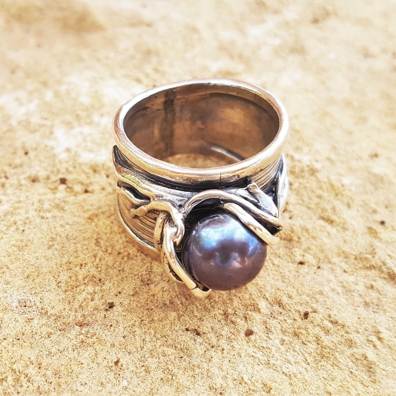 Silver Rings,Oxidized Solitaire Sterling Silver Statement Ring,Long Women/'s Ring,Big Black Natural Pearl,Wide Bohemian Ring,Artisan Jewelry