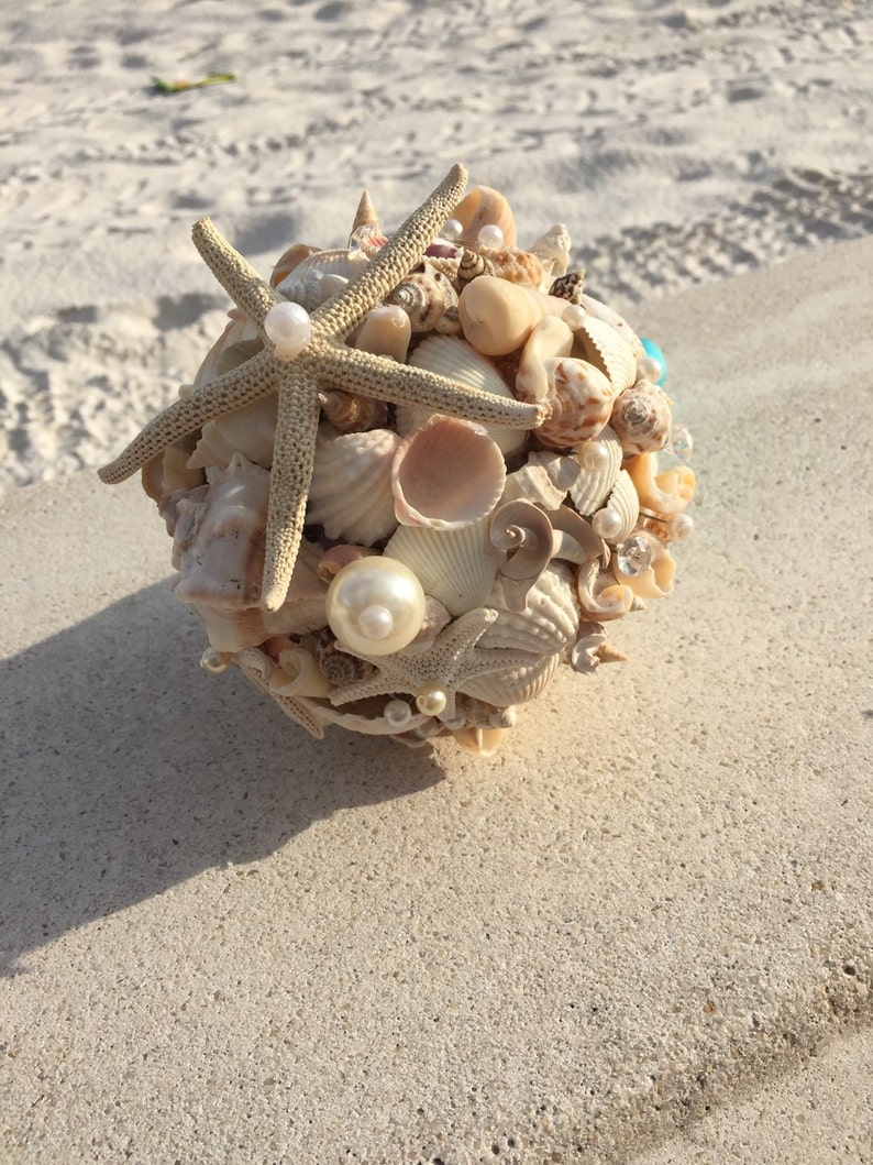 Xo bouquets 15 inch sea shell beach wedding bouquet