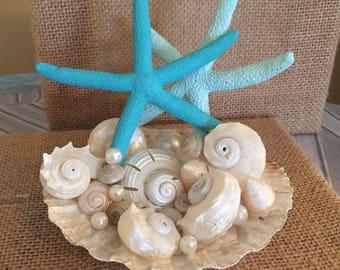 Xo bouquet starfish shell caketopper