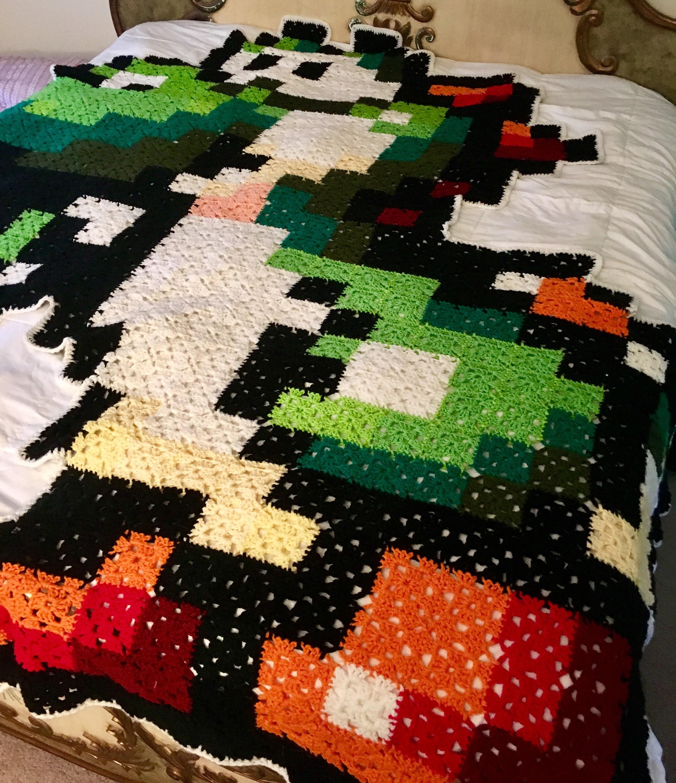 Large Yoshi Crochet 8 Bit Blanket Etsy