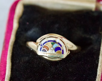 Antique Rainbow Cocktail Ring, Rosy 10k Yellow Gold Ring, Size 6.25, Dainty and Unique Colorful Rings, Vintage Sorority and Masonic Jewelry